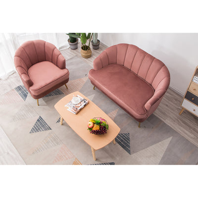 2 Seater Shell Velvet Sofa, Armchair