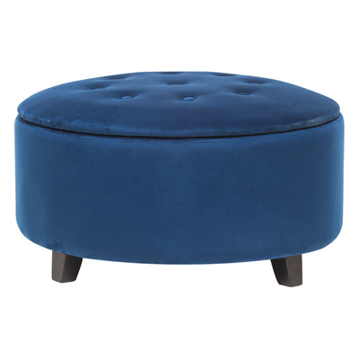 Large Velvet Chesterfield Buttoned Storage Ottoman Round Storage Footstool Coffee Table