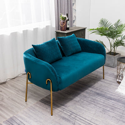 2 Seater Velvet Upholstered Tub Armchair Love Seat Wave Wrinkle Lounge Sofa