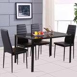 Tempered Glass Top Dining Table/ 4 Pcs Dining PU Leather Chairs For 4 Person