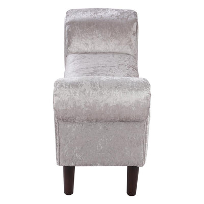 Bed End Ice Crushed Velvet Window Hallway Side Couch Bench Grey