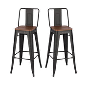Matte Black Elm Base Metal Bar Stool Sets