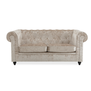 Ice Crushed Velvet Armchair, Sofa in Beige Chesterfield