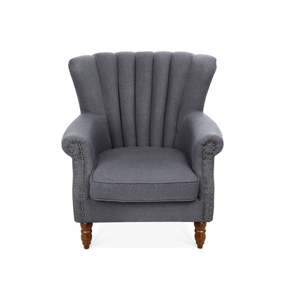 Retro Linen Lined-back Armchair