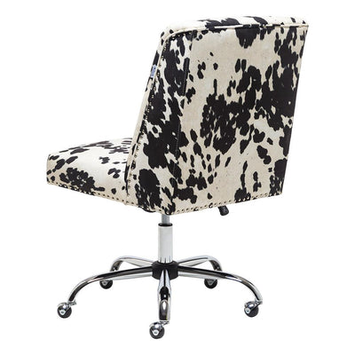 Velvet Studded Ergonomic Desk Chair Swivel Lift Office Milk Cow Print Executive Chair