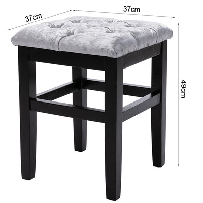 Vanity Dressing Table Stool Button Top Padded Makeup Chair with Wooden Legs