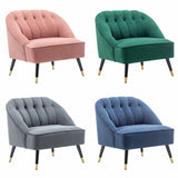 Chesterfield Matte Velvet Armchair Deep Button Scallop Tub Chair Lounge Sofa