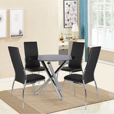 Clear Tempered Glass Round Side Coffee Table Tea Table Chrome Legs