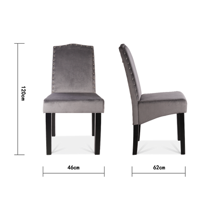 Set of 2 Grey Ringed Velvet Dining Chairs - Lifelook Store