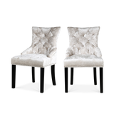Set of 2 Ringed Buttoned Plus Ice Crushed Velvet Dining Chairs - Lifelook Store