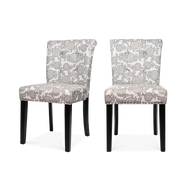 Set of 2 Floral Printed Linen Dining Chairs - Lifelook Store