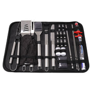 25Pcs Steel BBQ Grill Tool Set Barbecue Utensils Cutlery Kit