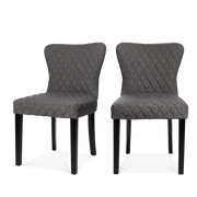 Set of 2 Grey DiamondLinen Dining Chairs - Lifelook Store