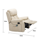 Multi-Functional Heating Massage Leather Recliner Armchair