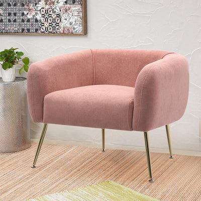 Cozy Velvet Cushioned Armchair Metal Leg Tub Chair