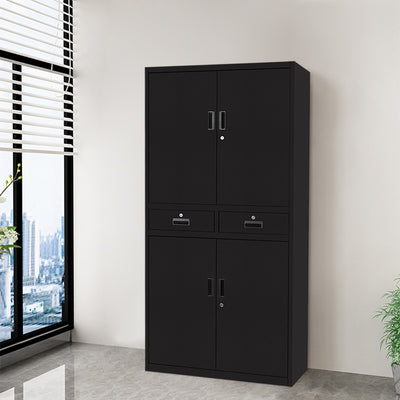 5 Layer 2 Drawer Lockable Metal Filing Cabinet Office Garage Storage Cupboard