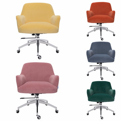 Contemporary Velvet Swivel Executive Chair Computer Desk Chair Height Adjustable