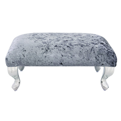 Light Blue Grey Grace Velvet Upholstered Footstool