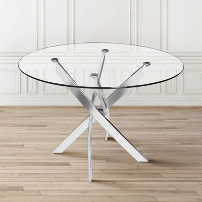 Round Tempered Glass End Table Accent Coffee Table Chrome Legs