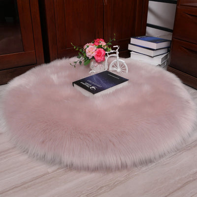 Plain Fluffy Chair Sofa Cover Mat Floor Carpet Shaggy Faux Wool Sheepskin Rug Soft