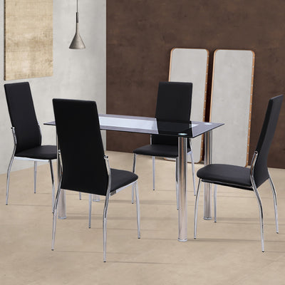 Rectangle Tempered Glass Dining Table Chrome Legs