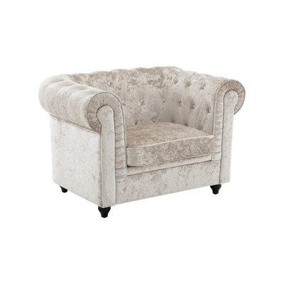 Ice Crushed Velvet Armchair in Beige Chesterfield - Lifelook Store