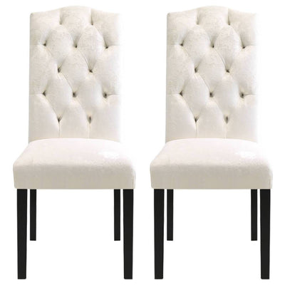 2PCS High Back Velvet/Linen Dining Chairs Crown Top Button Back Padded Seat
