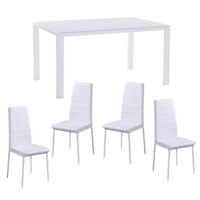 White Gloss Glass Dining Table Set and 4 Leather Chairs Seater Furniture