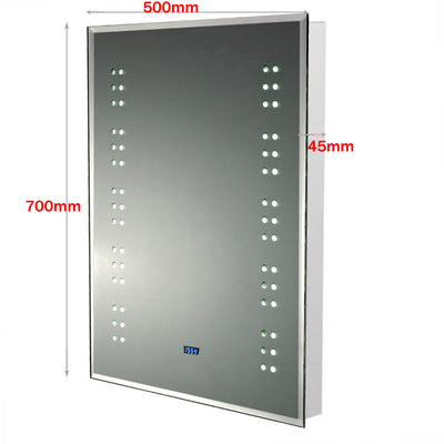 Bathroom Illuminated Digital Clock Mirror 700x500mm with Shaver Socket