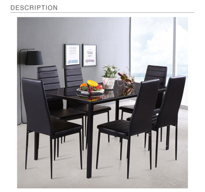 Modern Metal Frame Dining Table for 6 Person Table Chair Set Kitchen Furniture
