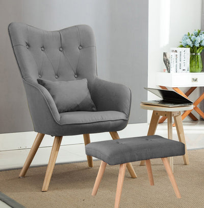 Linen Buttoned Wingback Chair & Footstool
