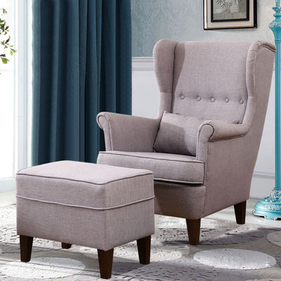 Sento Linen Wingback Chair and Footstool