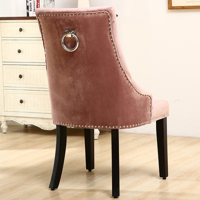 Set of 2 Ringed Buttoned Velvet Dining Chairs