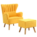 Suede Fabric Lined Wingback Armchair & Footstool - Lifelook Store