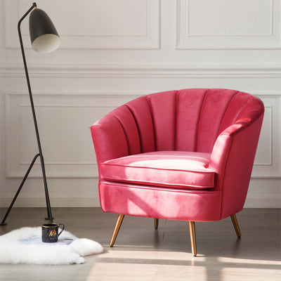 Rose Velvet Accent Tub Chair