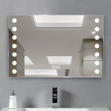 Bathroom Sensor Control LED Clock Mirror with Shaver Socket
