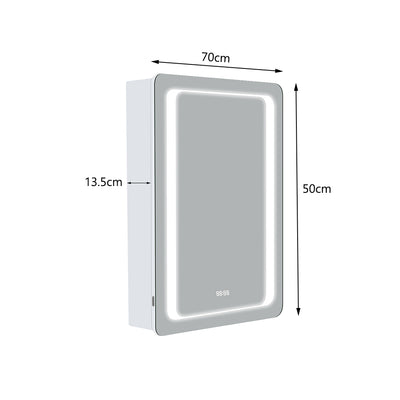Bathroom Sensor LED Clock Mirror Cabinet with Shaver Socket