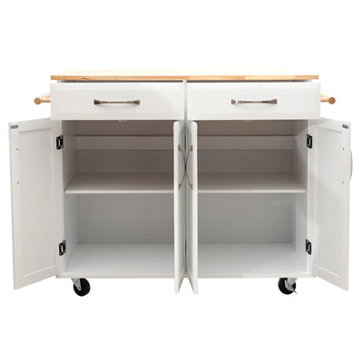 Deluxe White Kitchen Storage Rolling Cabinet Trolley - Lifelook Store