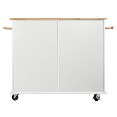 Deluxe White Kitchen Storage Rolling Cabinet Trolley