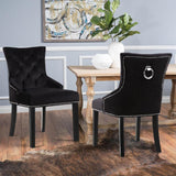Crushed Velvet Studded Scoop Button High Back Dining Chairs