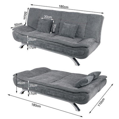 Upholstered 3-Seater Sofabed Sleeper Recliner Couch Bed Fabric/Leather