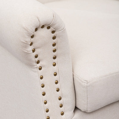 Grace Noble Buttoned Nailhead Linen Armchair