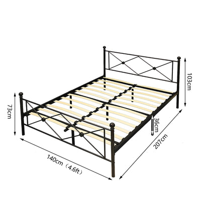 Diamond Black Iron Bedstead - Lifelook Store