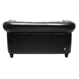 2 Seater Black Chesterfield Leather Sofa