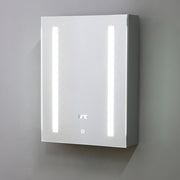Bathroom Side Lit IP44 Illuminated Mirror Cabinet in Silver Aluminium