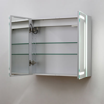 2 Door Wall Mounted IP44 Illuminated Mirror Cabinet Silver Aluminium