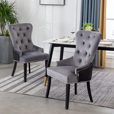 Patchwork Velvet Wing Button Tufted Dining Kitchen Chair
