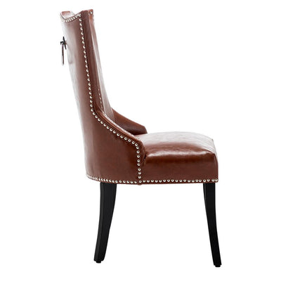 European Style Cushioned Dining Chairs Faux Leather Seat with Rivets & Knocker