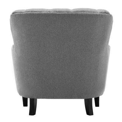 High Back Button Tufted Winged Armchair Fireside Fabric Sofa