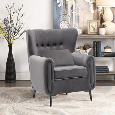 Velvet Lounge Accent Armchair Wingback Tufted Sofa with Pillow